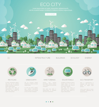 city living: Green eco city and sustainable architecture banner. Vector illustration. Buildings with solar panels and windmills.