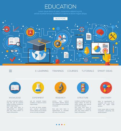 aprendizaje: la educación concepto de diseño de espacios de aprendizaje en línea. Vectores