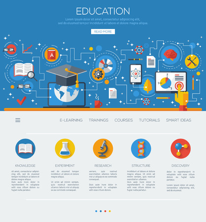 onderwijs: Vlakke design concept onderwijs en online leren. Stock Illustratie