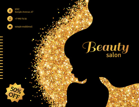 Black and Gold Glowing Flyer Template, Fashion Woman with Long Hair. Vector Illustration. Vettoriali
