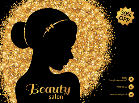 Black and Gold Flyer Template, Fashion Woman with Hair Bun. Vector Illustration. Vectores