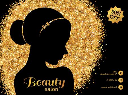 buns: Folleto del oro negro y plantilla, moda mujer con Moño. Ilustración del vector.