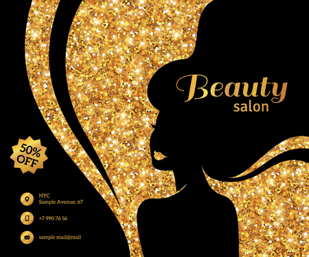 long black hair: Black and Gold Flyer Template, Fashion Woman with Long Hair. Vector Illustration.