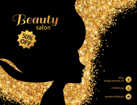 Black and Gold Flyer Template, Fashion Woman with Long Hair. Vector Illustration.