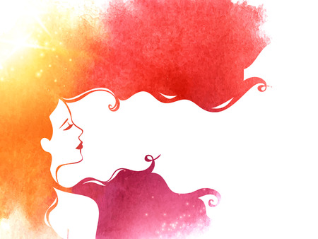 long hair woman: Pink Yellow Watercolor Fashion Woman with Long Hair. Vector Illustration.