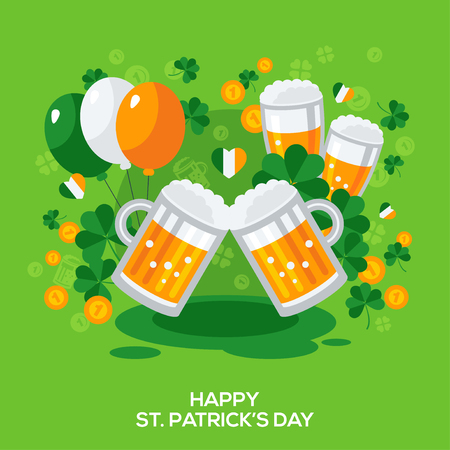 irish symbols: Saint Patricks Day Banner with Irish Stickers Symbols in Flat Style. Vector Illustration. Illustration