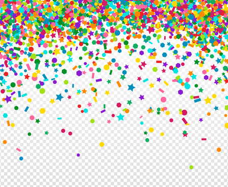 Abstract background with many falling tiny confetti pieces. Vector Illustration. Party background, greeting card. Rainbow small sequins salute. Reklamní fotografie - 54940221