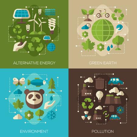 Protección del Medio Ambiente, Ecología Concepto Plaza de Banderas Fijadas en plana del estilo. Ilustración del vector. Símbolos de la ecología. Medio ambiente, energía verde alternativa, el concepto de la contaminación. Paneles solares.