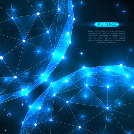 Sphères vectorielles abstraites. Éléments polygonaux à maillage filaire technologique futuriste. Structure de connexion. Concept de technologie moderne géométrique. Visualisation de données numériques. Moment de convergence Vecteurs