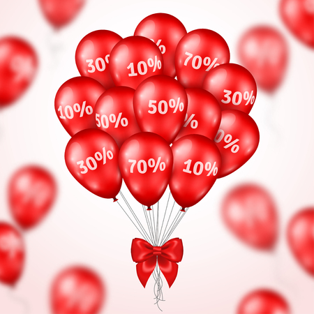 Big Bunch of Red Shining Balloons with Silk Ribbon Bow. Vector Illustration. Sale poster. Super Sale Grand Opening, Sale Concept for Store Birthday. Background with Blur Defocused Balloons. Price loss