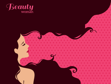 beauty saloon: Vintage Fashion Woman with Long Hair. Vector Illustration. Stylish Design for Beauty Salon Flyer or Banner. Girl Silhouette - cosmetics, beauty, health spa, fashion themes. Illustration