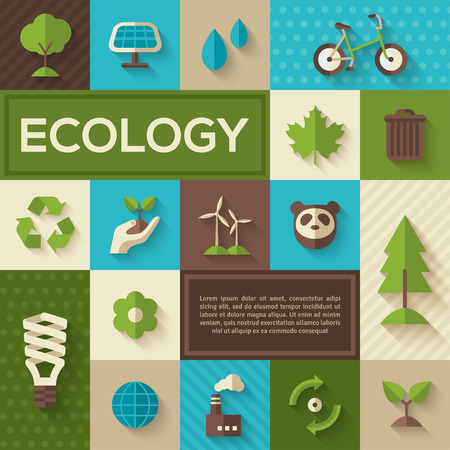 green energy: Flat design vector concept illustration with icons of ecology, environment, green energy and pollution. Save world. Save the planet. Save the Earth. Concept Poster of Eco Technology. Place for text