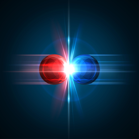 Frozen moment of two particles collision with red and blue light. Vector illustration. Explosion  concept. Abstract molecules impact on black background. Atomic Power. Nuclear reactions concept.