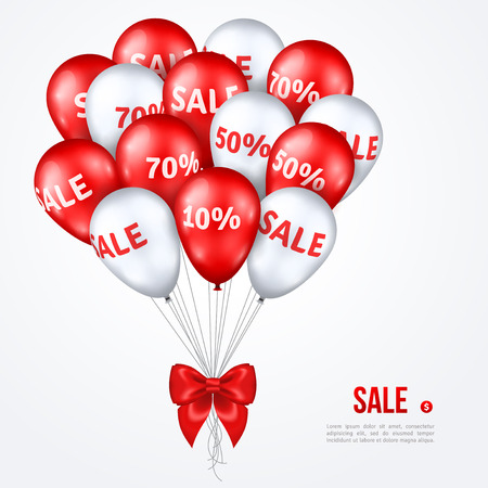 grand sale: Big Bunch of Red and White Shining Balloons with Silk Ribbon Bow. Vector Illustration. Sale poster. Super Sale Grand Opening, Sale Concept for Store Birthday. Sale background. Sale Special Offer. Illustration
