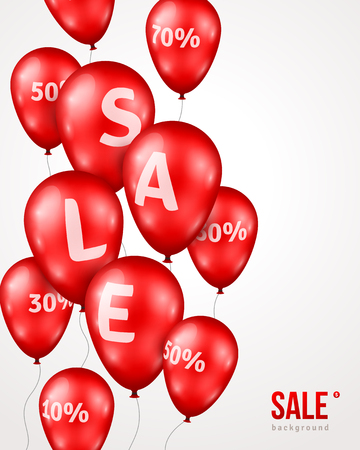 grand sale: Red Shiny Balloons with Sale letters and Percent Sign on White Background. Vector Illustration. Grand Opening Sale Advertisement. Concept of Discount. Design elements template for holiday sale event.