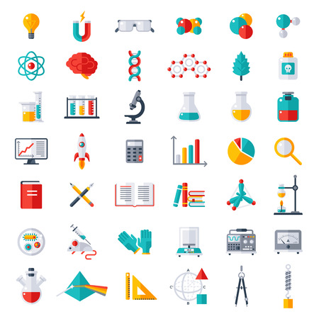 equipment: Physics, Chemistry and Biology, laboratory and science equipment Icons Set. Flat design vector illustration. Latex Gloves. Molecules, Data Analysis. Scientific Research. Chemical Experiment.