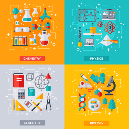 physics: Flat design vector illustration concepts of education and science. Square banners with science symbols. Concepts for web banners and promotional materials. Chemistry, Biology, Physics, Geometry.