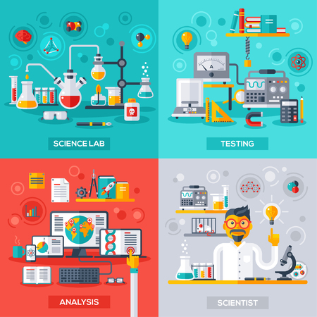Flat design vector illustration concepts of education and science. Square banners with science symbols. Concepts for web banners and promotional materials. Science Lab, Testing, Analysis, Scientist. Vettoriali