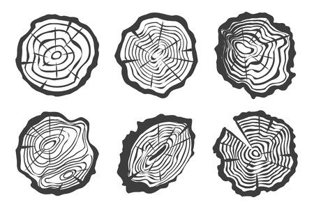 Los anillos del árbol conjunto aislado sobre fondo blanco. Saw tronco de árbol cortado. Ilustración del vector. Los cortes de troncos de árboles en la corteza.
