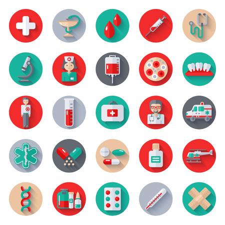 Conjunto de iconos planos médicos en círculo con una larga sombra. Ilustración del vector. Enfermera y un médico, caduceo, símbolo del coche ambulancia, helicóptero, bolsas de sangre, donación de sangre, laboratorio médico, píldoras de la farmacia, medicamentos Ilustración de vector