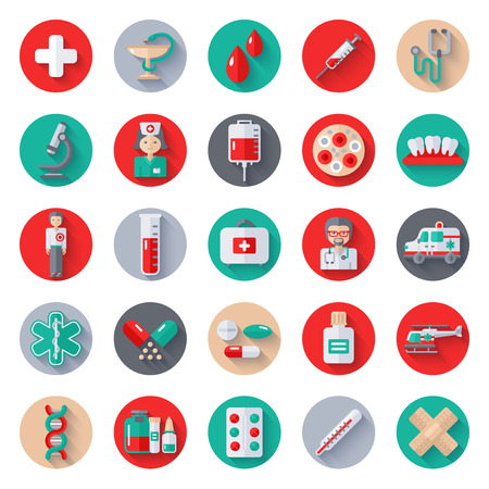 Set of Flat Medical Icons on Circle with Long Shadow. Vector Illustration. Nurse and Doctor, Caduceus Symbol, Ambulance Car, Helicopter, Blood Bag, Blood Donation, Medical Lab, Pharmacy Pills, Drugs Vettoriali