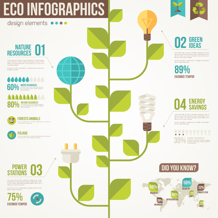 stems: Ecology Infographics. Vector illustration. Environmental template with flat icons. Creative concept of Eco Technology. Light Bulbs and Plug on Stem. Go green. Save the planet. Environmental protection Illustration