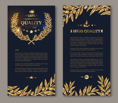 Flyer design layout template. Vector illustration. Business brochure design with golden laurel wreath and gold confetti on dark background. Glittering premium vip design. Golden Olive branches Decor