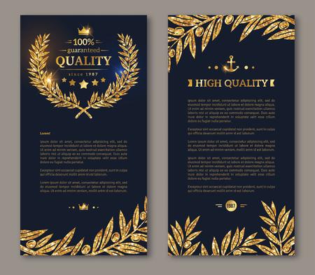 Ulotka szablon projektu układu. ilustracji wektorowych. projektowanie broszur biznesowych ze złotym wieńcem laurowym i złota konfetti na ciemnym tle. Połyskujące premii projekt VIP. Złoty gałęzie oliwne Decor