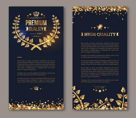 Flyer ontwerp lay-out sjabloon. Vector illustratie. Zakelijke brochure ontwerp met gouden lauwerkrans en gouden confetti op een donkere achtergrond. Glinsterende premium vip design. Golden Olijftakken Decor Vector Illustratie