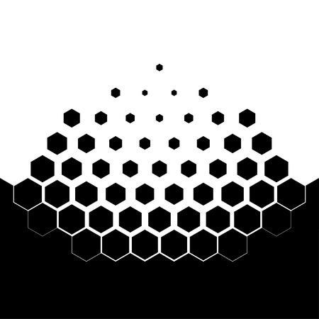 dissolving: Abstract concept of dissolution. Black and white scheme of erosion. Vector illustration. Hexagonal particles. Monochrome scientific background.