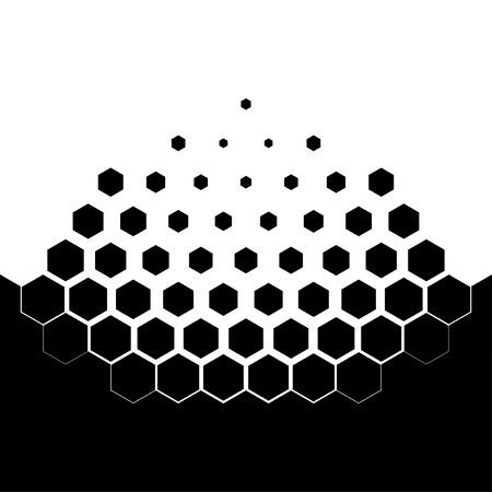 molecula: Resumen concepto de disolución. esquema blanco y negro de la erosión. Ilustración del vector. partículas hexagonales. Monocromo antecedentes científicos.
