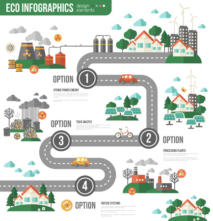 toxic emissions: Ecology Infographics with Town Road. Vector illustration. Environmental template with flat icons. Eco City and Sustainable Architecture. Buildings with solar panels. Pollution by toxic factories.