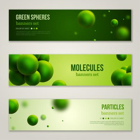 Banderas horizontales Set con verdes abstractos partículas. Ilustración del vector. Antecedentes moléculas. Los átomos. Ecológico concepto.
