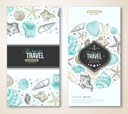 seaside: Vintage Summer Sea Shells Banner Design. Vector Background with Seashells, Seastar and Sand. Hand Drawn Etching Style. Place for Your Text. Travel Flyer Template. Emblem with Anchor.