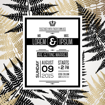 palm leaf: Wedding invitation card design with typography template for text and fern leaves silhouettes. Wedding theme with black and gold floral motif. Vector illustration. Save the date card.