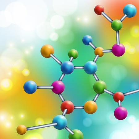 Molécula multicolor abstracto sobre fondo colorido arco iris. Ilustración vectorial Átomos Antecedentes médicos para pancarta o folleto. Estructura molecular con partículas esféricas. Luces de bengala, bokeh.