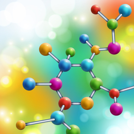 Abstract multicolor molecule on colorful rainbow background. Vector illustration. Atoms. Medical background for banner or flyer. Molecular structure with spherical particles. Flare lights, bokeh.