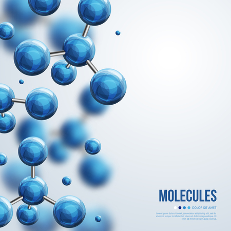 physics: Abstract molecules design. Vector illustration. Atoms. Medical background for banner or flyer. Molecular structure with blue spherical particles. Illustration