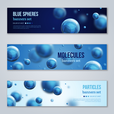 physics: Set of horizontal banners with blue molecules design. Vector illustration. Atoms. Medical background for banner or flyer. Shining spheres, nanotechnology backdrop. Illustration