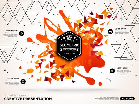 汚し塗装と幾何学的な三角形の図形と 3 D の抽象的な背景。ビジネス プレゼンテーション、チラシ、ポスターのベクトル デザイン レイアウト。科学