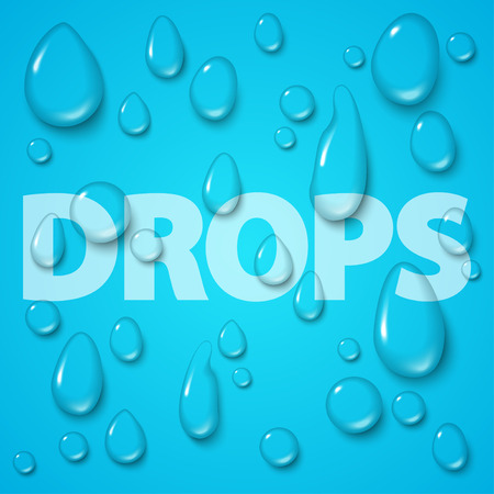 condensation on glass: Transparent water drops set on blue background. Vector illustration.  Clean pure aqua droplets. Realistic dew.