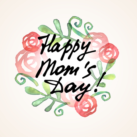 Happy Mom Day freehand lettering. Vector illustration. Red watercolor rose flowers, green leaves, spring sprouts. Floral wreath. Black ink inscription. Light holiday banner or greeting card design.