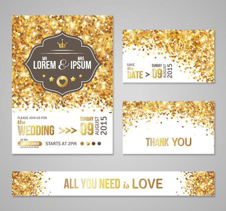 Set of wedding invitation cards design. Gold confetti and white background. Vector illustration. Save the date. Retro figured label. Typographic template for your text. Shining dust. Stock Illustratie