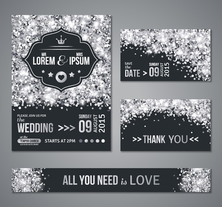 結婚式の招待カードのデザインを設定します。銀の紙吹雪と黒の背景。ベクトルの図。日付を保存します。レトロなラベルを考え出した。テキスト