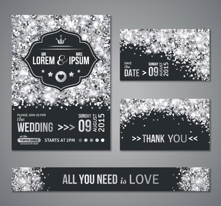 Set van bruiloft uitnodigingskaarten design. Zilveren confetti en een zwarte achtergrond. Vector illustratie. Sparen de datum. Retro dacht label. Typografische sjabloon voor uw tekst. Glittering stof.