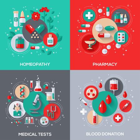 Ilustración planas Conceptos de diseño de vectores de Salud y Medicina. El tratamiento a base de hierbas, homeopatía. Farmacia, Medicamentos y pastillas. Pruebas medicas. Donación de sangre. Ilustración de vector