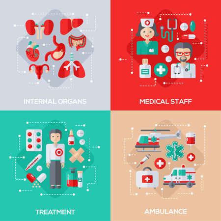human icons: Flat Design Vector Illustration Concepts of Healthcare and Medicine. Internal Organs, Medical Staff, Patient Treatment, Ambulance Vehicles