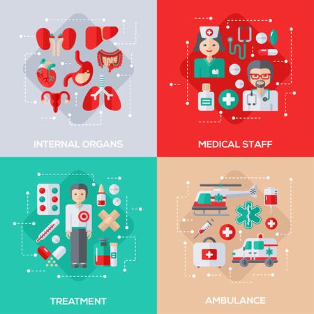 bowel surgery: Flat Design Vector Illustration Concepts of Healthcare and Medicine. Internal Organs, Medical Staff, Patient Treatment, Ambulance Vehicles