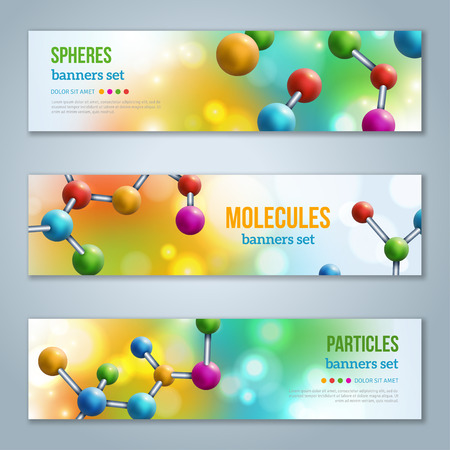 Horizontal Banners Set with Abstract molecules design.
