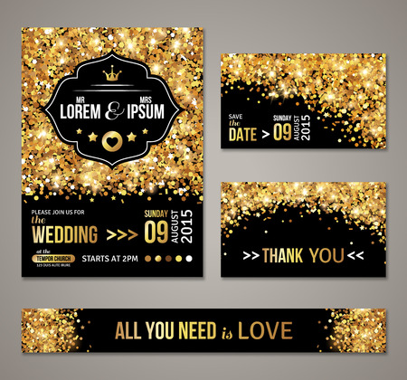 gold: Set of wedding invitation cards design. Illustration